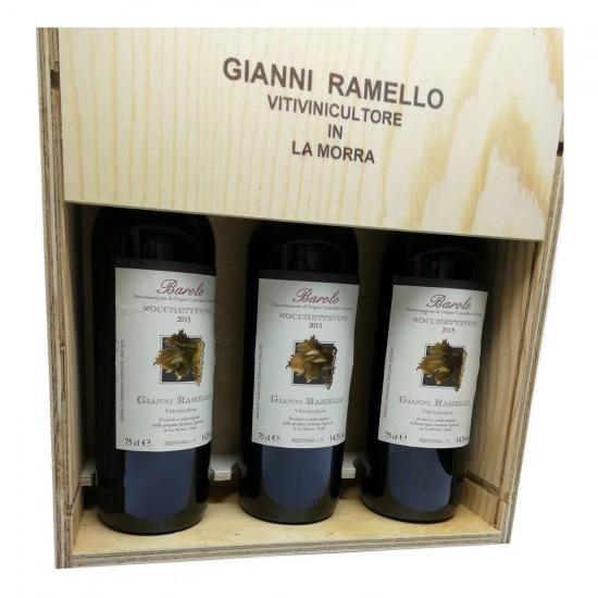 """Barolo DOCG 2015 """"Rocchettevino"""" 3 box (cassetta di legno) - Gianni Ramello"""