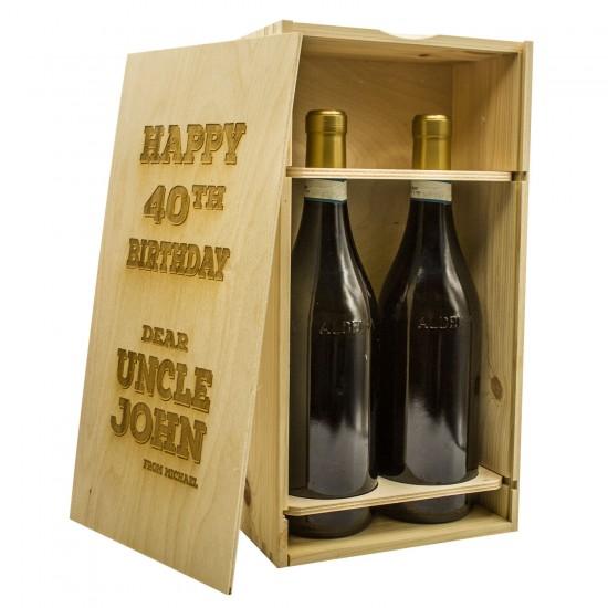 Custom Wood Box for 2 bottles